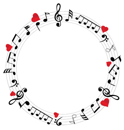 note: illustration of musical notes with hearts