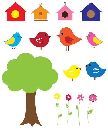 Illustration of funny birds sitting in the tree