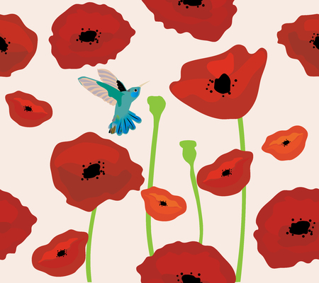 Illustration of poppies seamless background with hummingbird