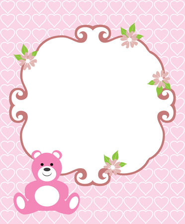 Illustration of baby shower or invitation card  イラスト・ベクター素材