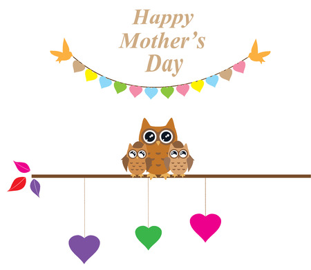 owl family: Illustration of mothers day card with owl family and bunting