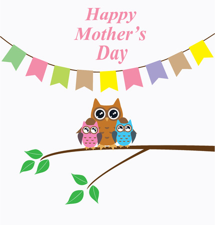 retro styled imagery: Illustration of mothers day card with owl family and bunting