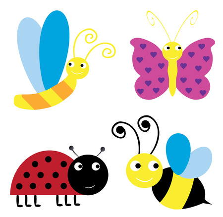 grub: Illustration of set of different funny insects