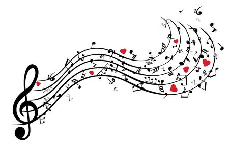 Illustratie van muzieknoten achtergrond met hartjes