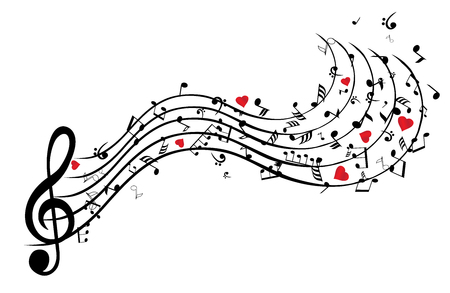 Illustration of musical notes background with hearts