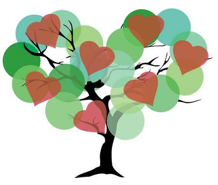 genealogical: illustration of a tree with circles and hearts