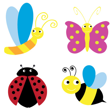 grub: illustration of different funny bugs and insects Illustration