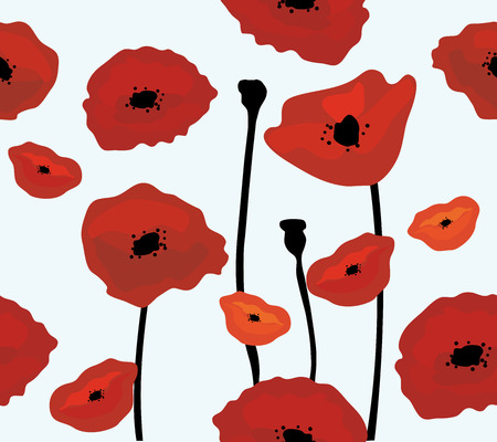 flower pattern: illustration of poppies background