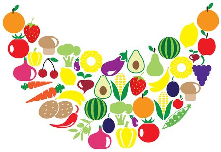 illustration of fruits and vegetables forming smile