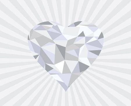coeur diamant: illustration d'un résumé coeur de diamant géométrique