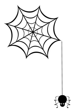 grub: vector illustration of a spider web with funny spider Illustration