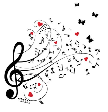 vector illustration of musical notes with red hearts and butterflies Vettoriali
