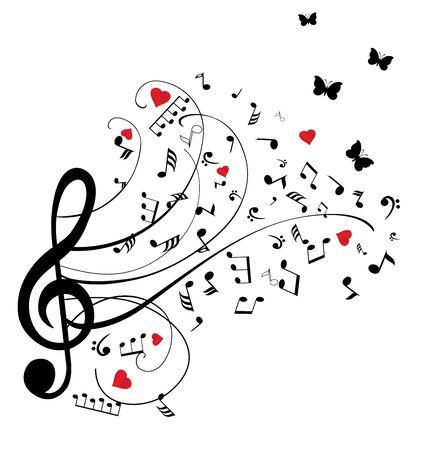 Illustrazione vettoriale di note musicali con cuori rossi e farfalle Archivio Fotografico - 54991666