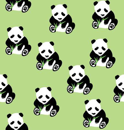 シームレスなパンダ竹背景のベクトル イラスト