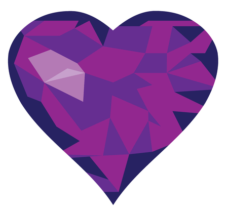 purple heart: vector illustration of a geometrical diamond purple heart Illustration