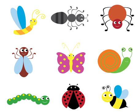 grub: vector illustration of set of fun bugs