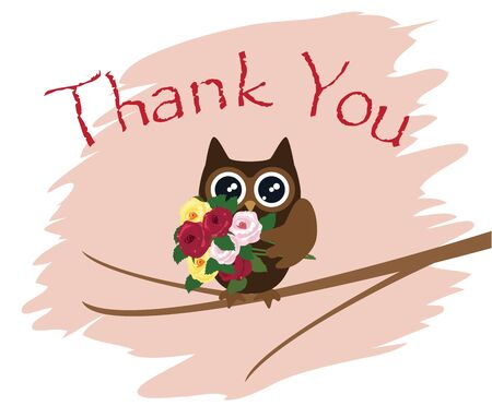 vector illustration of a thank you card with owl Illustration