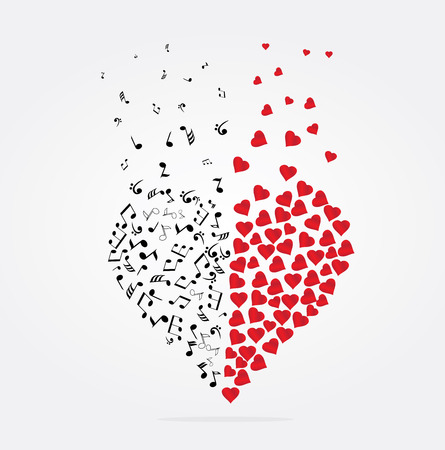 modern: vector illustration of a musical heart with notes