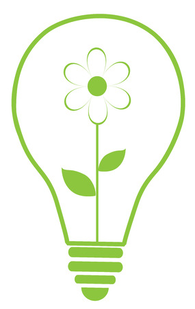 flower bulb: vector illustration of Eco green light bulb with flower Illustration