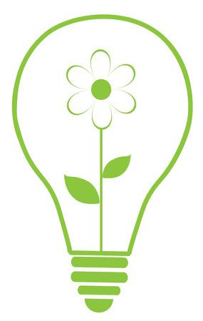 green light bulb: vector illustration of Eco green light bulb with flower Illustration