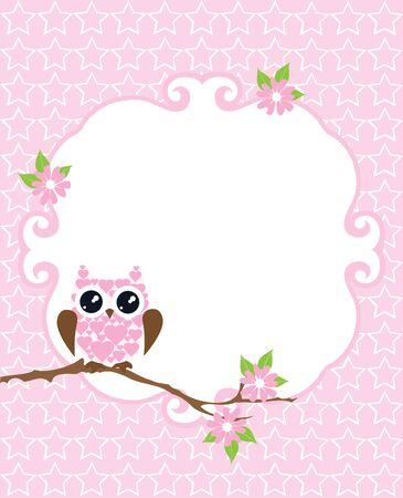 ilustración vectorial de una tarjeta de bienvenida al bebé con el búho
