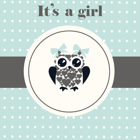 infant baby: vector illustration of a baby shower card with owl