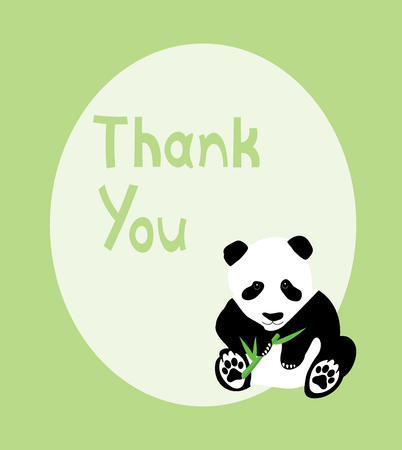 vector illustration of thank you card with panda bear