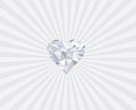 coeur diamant: vector illustration of geometrical diamond heart with sunburst background Illustration
