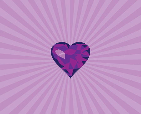 diamond heart: vector illustration of geometrical diamond heart with sunburst background Illustration