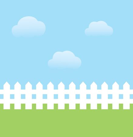 vector illustration of background with sky, grass, fence