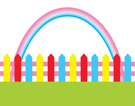 grasslands: vector illustration of background with grass, fence and rainbow Illustration