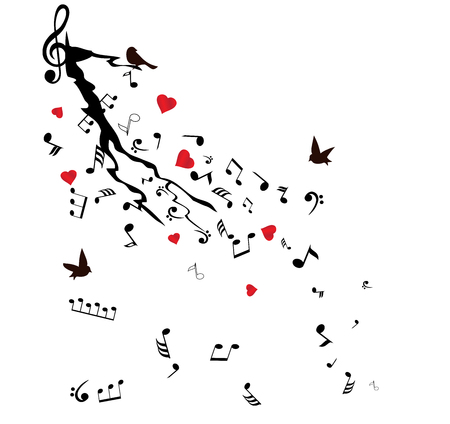 birds in tree: vector illustration of musical notes tree branch with birds and hearts Illustration