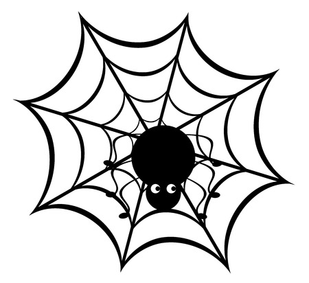 spider web: vector illustration of a funny spider on web