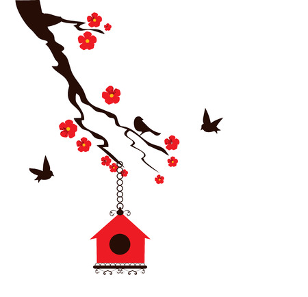 free clip art: vector illustration of a floral branch with birds and bird house