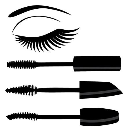 illustratie van de make-up mascara en oog met lange wimpers Stock Illustratie