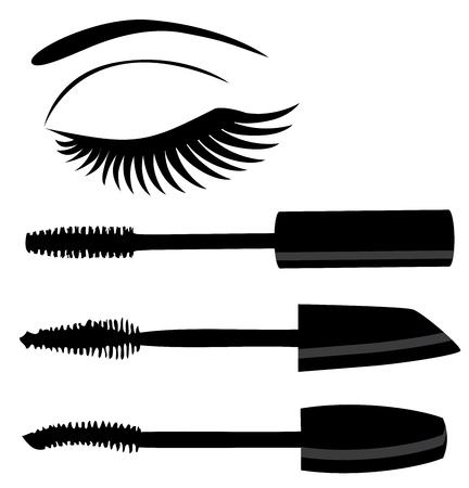 ilustración de maquillaje máscara de pestañas y los ojos con pestañas largas Ilustración de vector