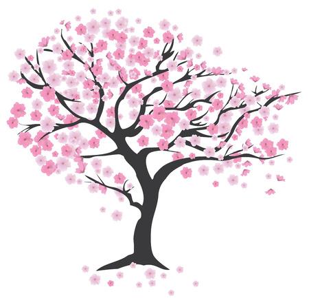 Ilustracja wiśniowe drzewo w kwiat