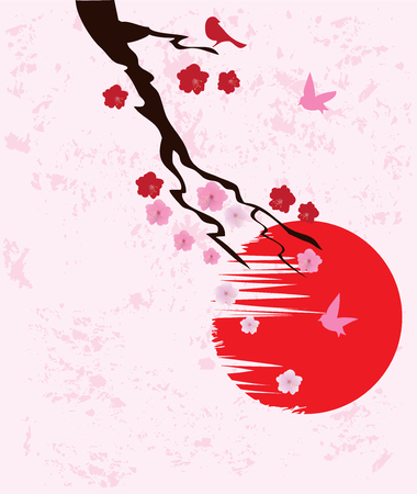 illustration of a tree branch with birds and grunge moon background