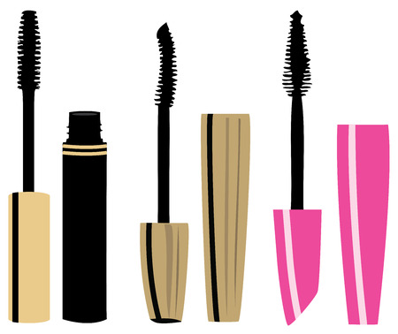 illustration of mascara make up isolated on white background
