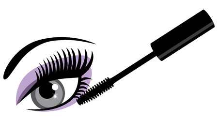 illustration of make up mascara and eye with long lashes