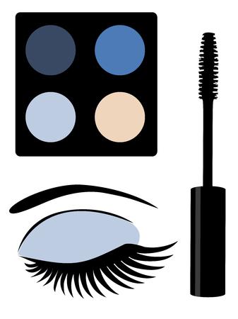 femininity: illustration of make up mascara and eye with long lashes