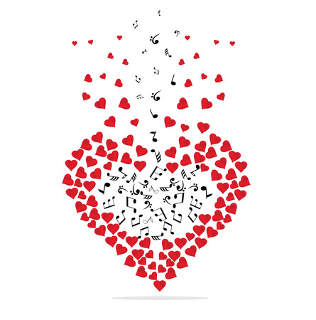 illustration of musical notes and hearts