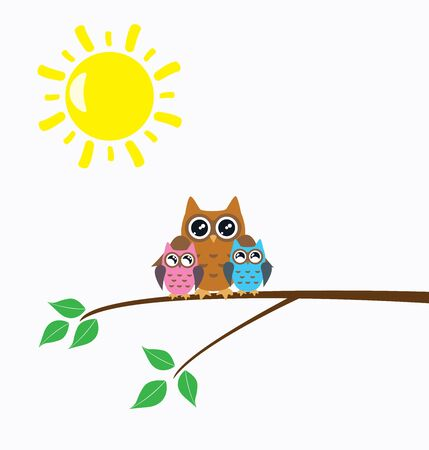 owl family: illustration of mothers day card with owl family in a nest