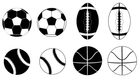 illustration of sport balls silhouettes isolated
