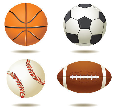 competitions: illustration of sport balls silhouettes isolated