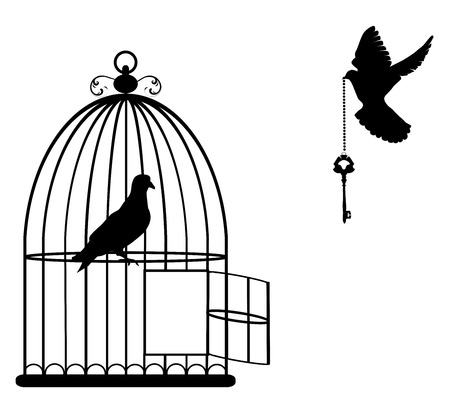 illustration of a bird cage open with doves flying with a key Stock Vector - 55656527