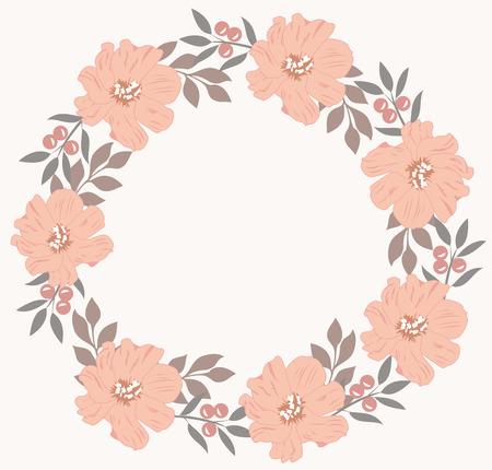 red rose bouquet: illustration of a floral wreath Illustration