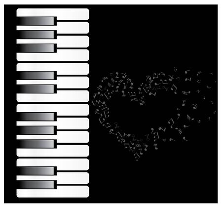 ebony wood: vector illustration of a piano with musical notes