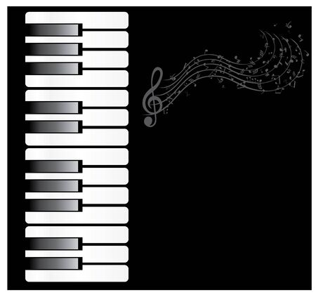 vector illustration of a piano with musical notes