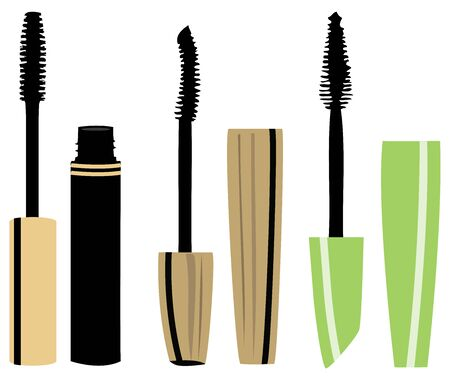 vector illustration of set of different mascara brushes